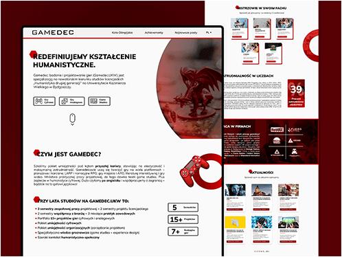 Layout of desktop website